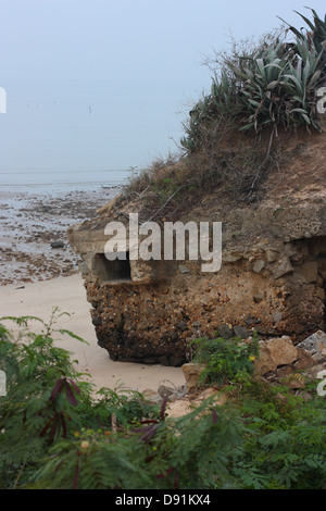 An old military bunker on a beach, Jincheng, Kinmen County,Taiwan - Stock Image