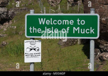 Welcome to the Isle of Muck Sign - Stock Image