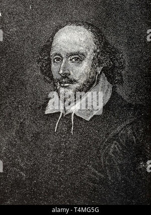 William Shakespeare (1564-1616), portrait, etching, artist unknown - Stock Image