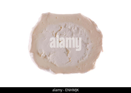 A slice of goat cheese close up. - Stock Image