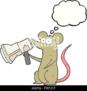 freehand drawn thought bubble cartoon mouse with megaphone - Stock Image