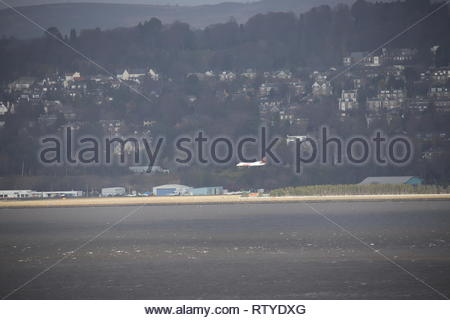 Loganair plane landing at Dundee Airport Scotland  February 2019 - Stock Image