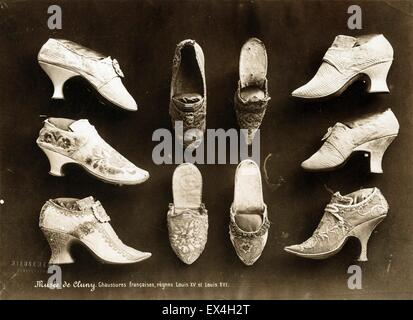 French Shoes from the Reign of Louis XV and Louis XVI, Musée de Cluny, by Séraphin-Médéric Mieusement - Stock Image