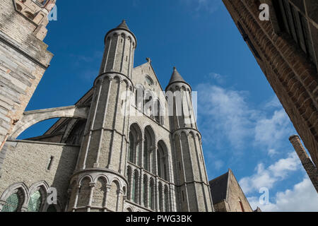 Gothic architectural exterior of Church of Our Lady, Bruges, Flanders, Belgium - Stock Image
