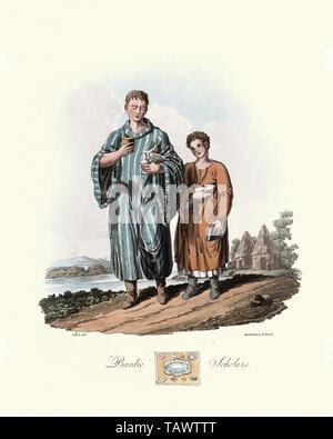 Ancient British Bardic scholars. 1815, The Costume of the Original Inhabitants of the British Islands, by MEYRICK, Samuel Rush and SMITH Charles Hamil - Stock Image
