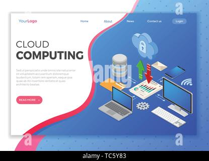 Cloud Computing Technology Isometric - Stock Image