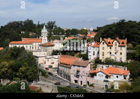 View of Sintra, Portugal from beside the National Palace - Stock Image