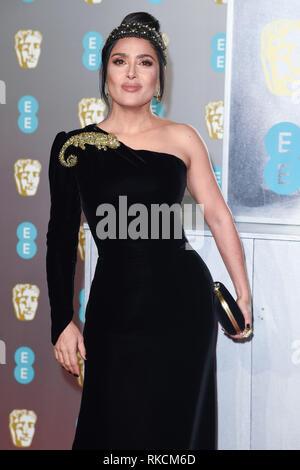 London, UK. 10th Feb, 2019. LONDON, UK. February 10, 2019: Salma Hayek arriving for the BAFTA Film Awards 2019 at the Royal Albert Hall, London. Picture: Steve Vas/Featureflash Credit: Paul Smith/Alamy Live News - Stock Image