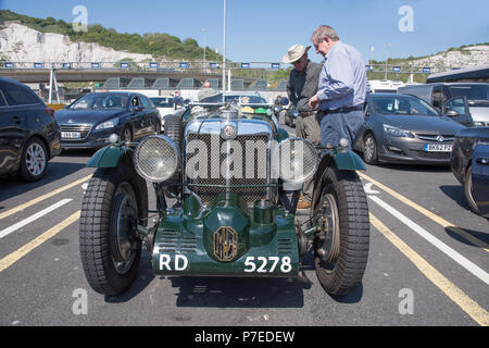 Green 1934 MG sportscar. This is a 2 rigid axle 1086cc petrol driven vintage car waiting to board a car ferry from Dover to Calais - Stock Image