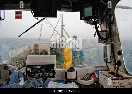 Working in the bow of the vessel with pot recovery equipment. - Stock Image