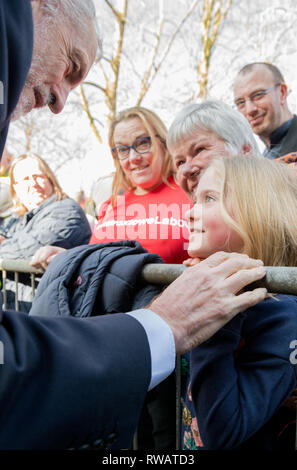 Jeremy Corbyn M.P. leader of the Labour Party talking to a young girl supporter at a Labour Party rally in Beeston, Nottingham. - Stock Image