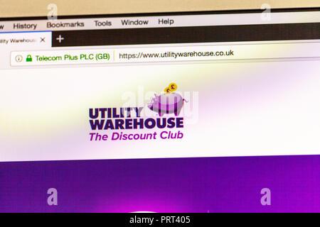 Utility Warehouse utility provider website, Utility Warehouse homepage, Utility Warehouse logo, Utility Warehouse online, logo, website, utilities - Stock Image