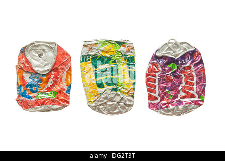 Three flattened soft drink cans - Stock Image