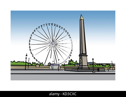Illustration of Place de la Concorde in Paris, France - Stock Image