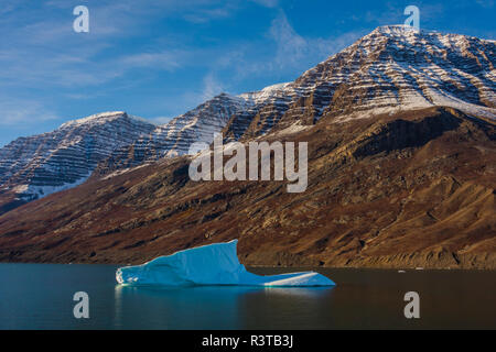 Greenland. Scoresby Sund. Gasefjord. Iceberg and snow-capped mountains. - Stock Image