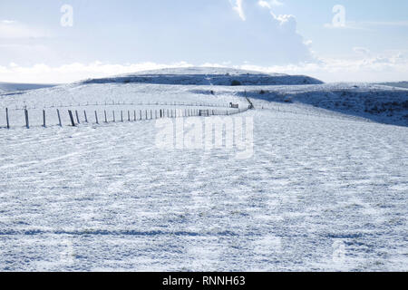 white Snow covered mount caburn, East Sussex, UK, long fences criss cross the top of the mountain, the whole image is mainly white. - Stock Image