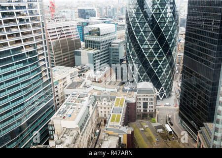 City Social, London, London uk, Tower 42, View from level 24 gherkin on a grey day - Stock Image