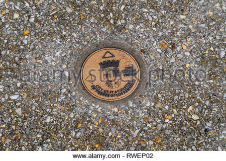 Historical marker on Aviles Street in the historic district of Saint Augustine, Florida USA - Stock Image