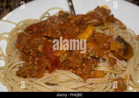 spaghetti, plate, fork, mushroom,noodle,gourmet meal - Stock Image