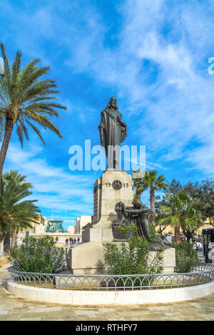 The statue of Cristo Re or Christ of King by Antonio Scortino to commemorate the International Eucharistic Congress of 1913 - Floriana, Malta. - Stock Image