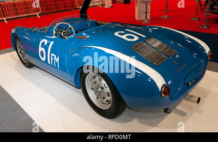 Three-quarters rear  view of a 1955, Porsche 550, on display at the 2019 London Classic Car Show - Stock Image