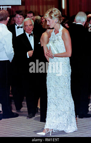 Diana, Princess of Wales walks with fashion designer Ralph Lauren, left, during a charity gala fundraising event for the Nina Hyde Center for Breast Cancer Research September 24, 1996 in Washington, DC. - Stock Image