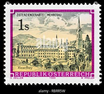 Austrian postage stamp (1989) : Monasteries and Abbeys series: Cistercian Abbey,  Mehrerau / Zisterzienserabtei Mehrerau - Stock Image