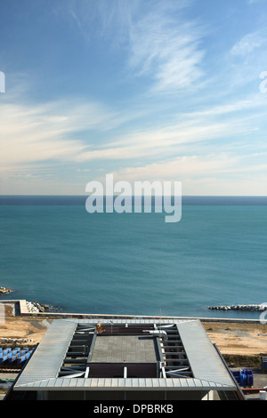 View to the Mediterranean sea from hotel room in Barcelona - Stock Image