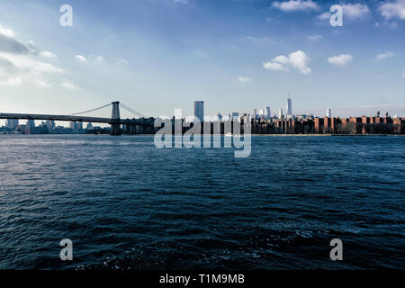 Sunny New York City cityscape view, New York, USA - Stock Image