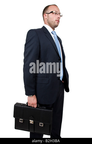 standing businessman on isolated background - Stock Image