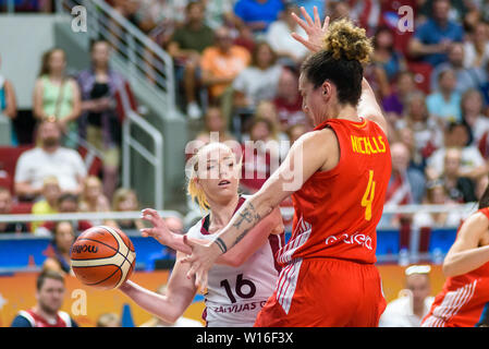 RIGA, LATVIA. 30th of June, 2019. Ilze Jakobsone (L) and Laura Nicholls (R), during European Women Basketball Championship, commonly called EuroBasket Women 2019 , game between team Latvia and team Spain in Arena Riga, Riga, Latvia. Credit: Gints Ivuskans/Alamy Live News - Stock Image