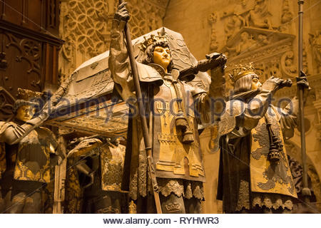The tomb of Christopher Columbus in Seville Cathedral - Stock Image