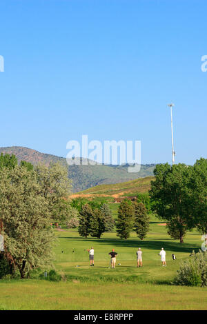 Four golfers queue up at the tee at a recreational golf course in Lakewood, Colorado - Stock Image
