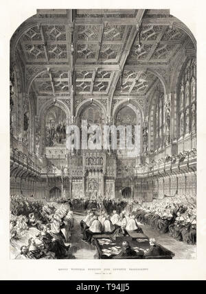 Queen Victoria, State Opening of Parliament, House of Lords, Tuesday, Feb. 6, 1866, engraving by Mason Jackson, 1866 - Stock Image