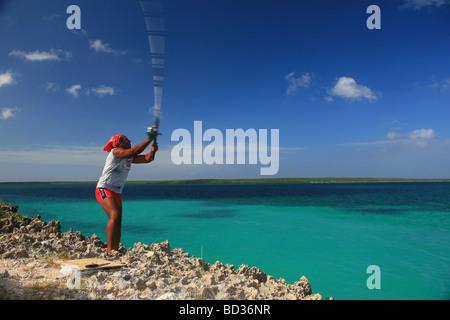 Cuba Cayo Santa Maria Man flyfishing in turquoise flats Villa Clara province Photo CUBA1318 Copyright Christopher - Stock Image