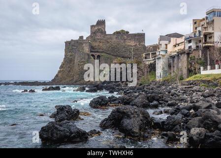 Norman Castle in Aci Castello comune in the Metropolitan City of Catania on Sicily Island in Italy - Stock Image