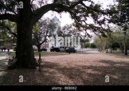 Old Christ Church on Seville Square in old-town Pensacola, Florida, USA - Stock Image