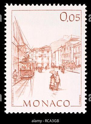 Monaco postage stamp (1984): Early Views of Monaco definitive series: Place de la Visitation - Stock Image