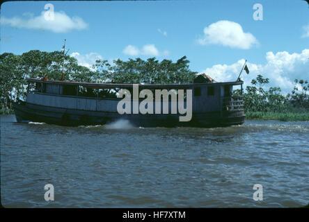 Old passenger boat on the Amazon River; Brazil. - Stock Image