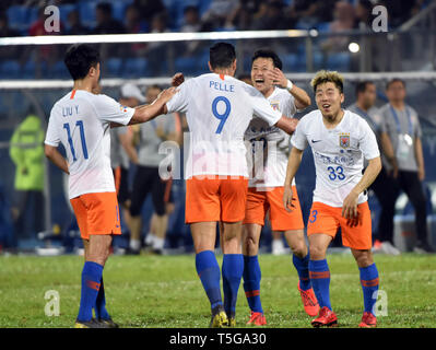 Johor Bahru, Malaysia. 24th Apr, 2019. Graziano Pelle (2nd L) of Shandong Luneng celebrates with teammates during AFC Champions League group match between Johor Darul Ta'zim and Shandong Luneng FC in Johor Bahru, Malaysia, April 24, 2019. Credit: Chong Voon Chung/Xinhua/Alamy Live News - Stock Image
