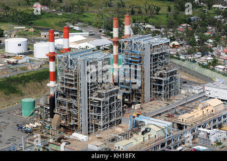 Aerial view of damage to the Aguirre Power Complex oil power plant during relief efforts in the aftermath of Hurricane - Stock Image