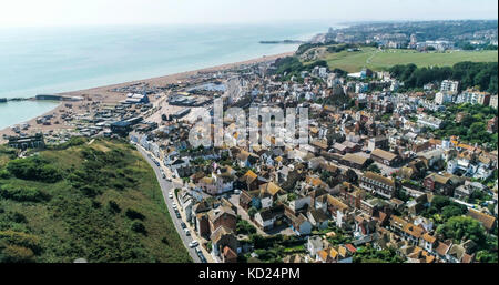 Aerial view of the old town of Hastings in England and the beach - Stock Image