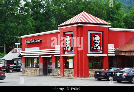 KFC in Oconaluftee Cherokee Indian Village, Cherokee, North Carolina, USA - Stock Image