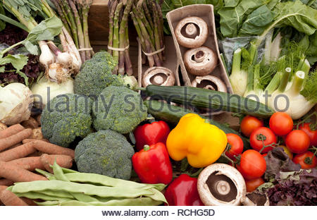 Vegetable assortment as a background - Stock Image