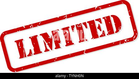 Limited red rubber stamp vector isolated - Stock Image