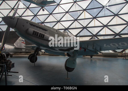 Ikarus S-49C on display at the Museum of Aviationin Belgrade, Serbia - Stock Image