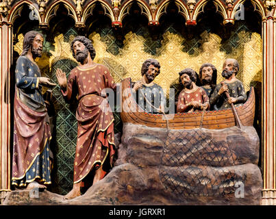 Appearance to the Apostles by Lake Tiberias from Cathedrale Notre Dame de Paris, France - Stock Image