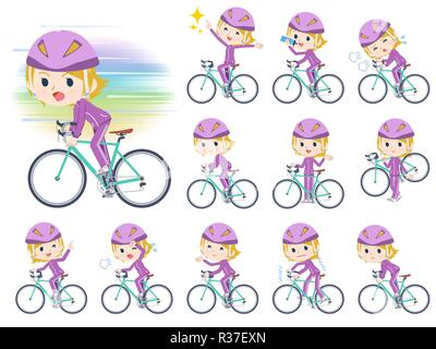 A set of women in sportswear on a road bike.There is an action that is enjoying.It's vector art so it's easy to edit. - Stock Image