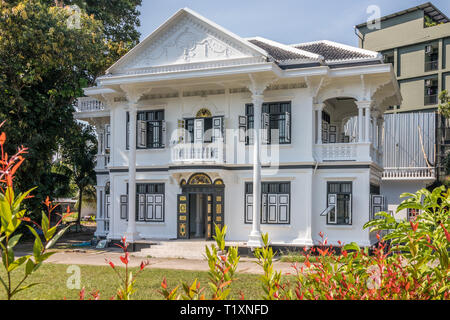 Phuket, Thailand 21st January 2019: Renovated Sino Portuguese mansion in Old Phuket Town, Many houses have been renovated. - Stock Image