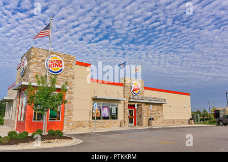 Burger King fast food restaurant front exterior entrance in Montgomery Alabama, USA. - Stock Image